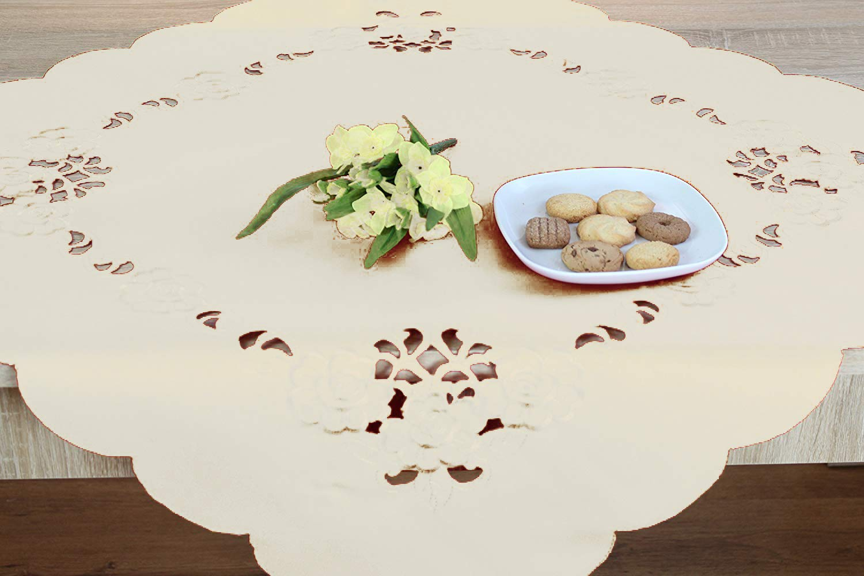 Tischdecke 85x85 cm Schmetterlinge in zartrosa Kurbel Stickerei und Cutwork