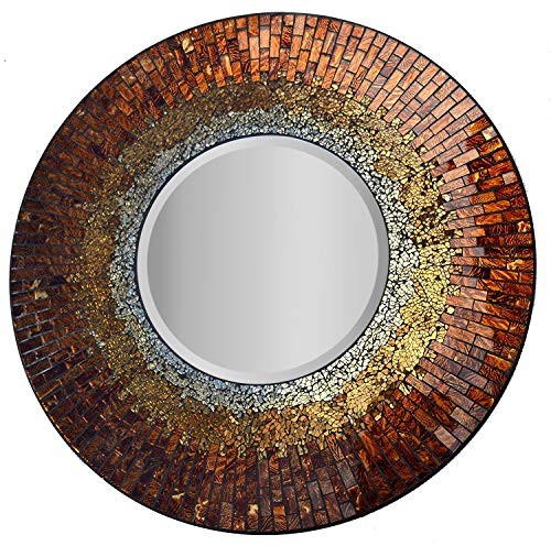 Amber Living Room - Lulu Decor, Baltic Amber Mosaic Wall Mirror, Decorative Handmade Beveled Round Mirror, Diameter 23.5