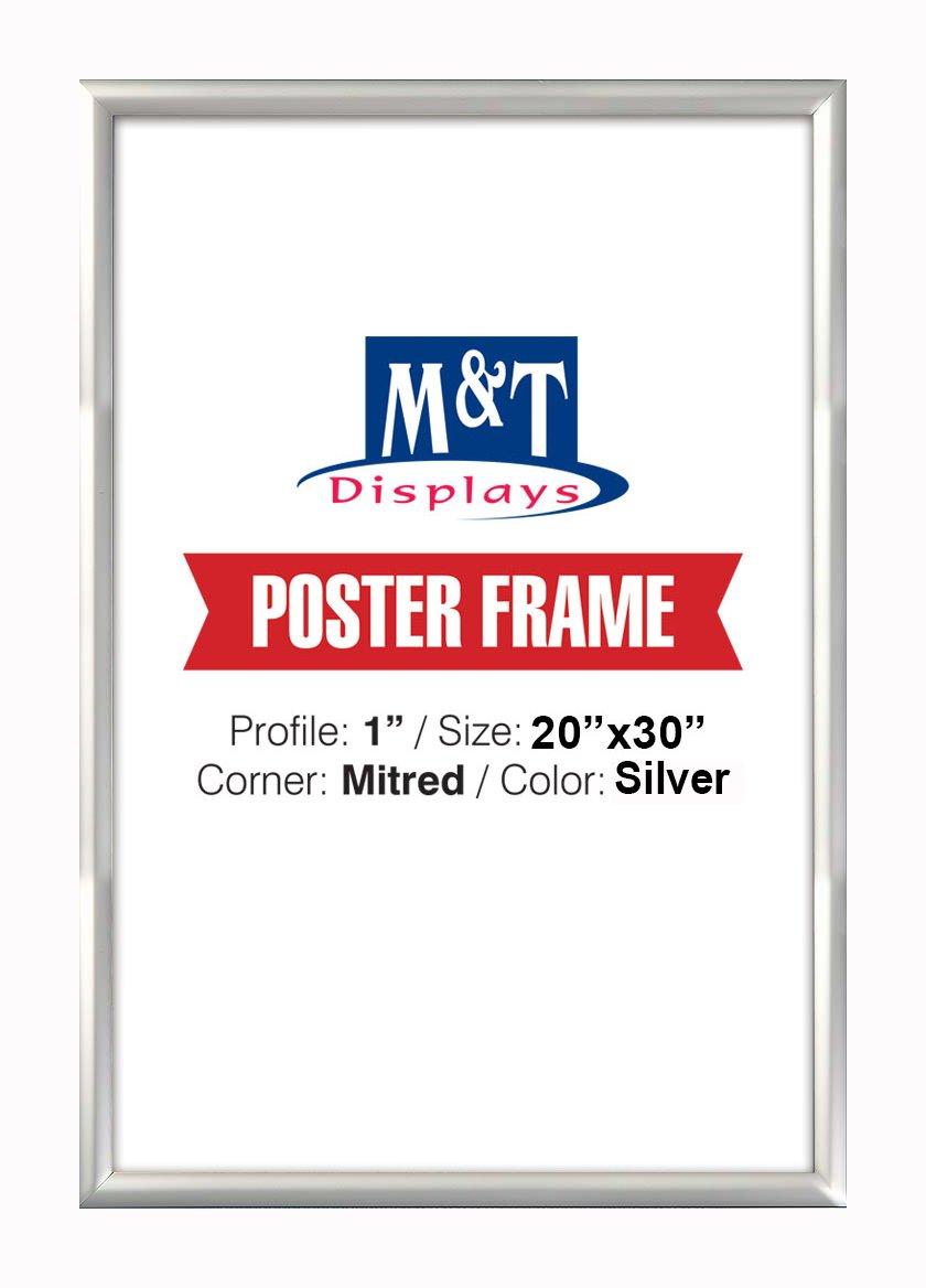 M&T Displays Window Frame, 20x30 Poster Size, 1'' Black Color Profile, Mitered Corner