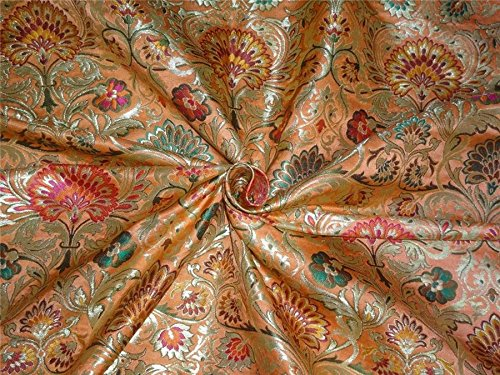 Heavy BROCADE FABRIC orange,hot pink & Metallic GOLD COLOR 36'' BRO560[3]