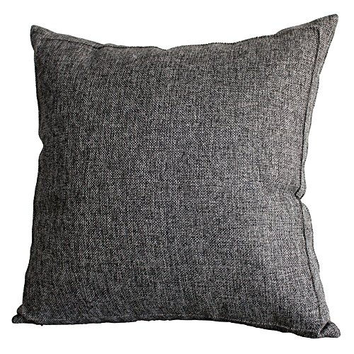 Jepeak Linen Burlap Throw Pillow Cover, Home Decorative Pillowcase Protector, Square Solid Handmade Pillow Sham Cushion Cover with Zipper for Sofa (16…
