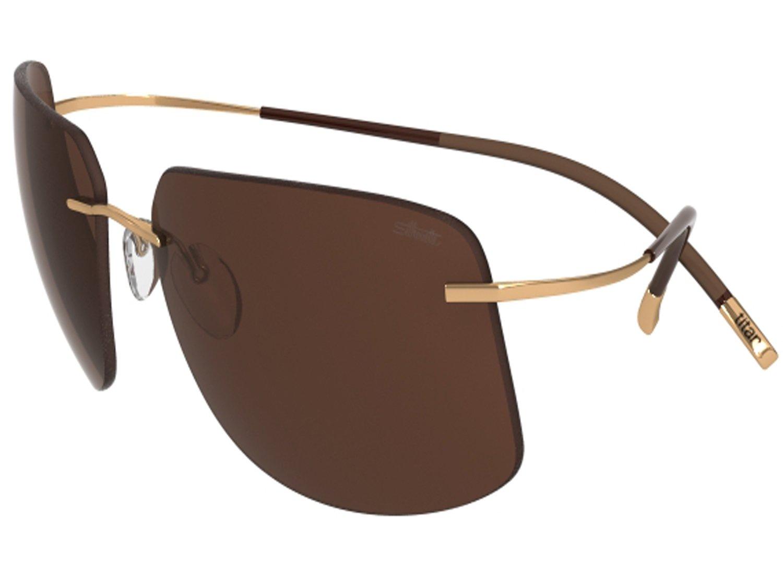Silhouette Sunglasses Titan Minimal ART The Icon 8698 medium to large fit (gold shiny / polarized cobalt blue lenses)