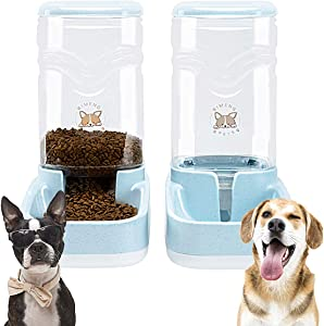 Automatic Pet Feeder and Waterer Dispenser Set Dog Food and Water Dispenser Station Self-Dispensing Gravity Water Fountain for Small Medium Puppy and Kitten Cat/Dog Food Bowl 3.8L/ 1 Gal x 2