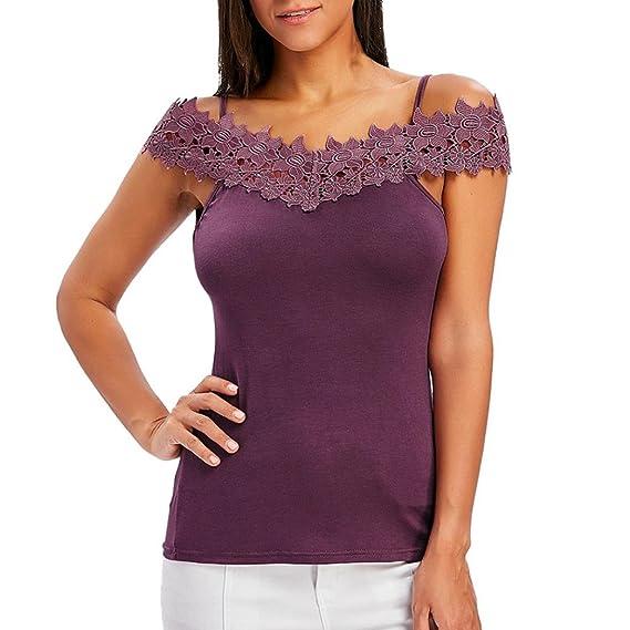 OHQ_Camisetas Mujer Verano Blusas Eslinga con Aplicaciones De Encaje Chaleco con Hombros Descubiertos Camiseta Ajustada para