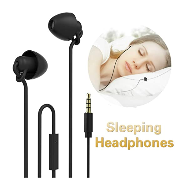 1aba7da5ffd Unitnen Sleeping Headphones - Ultra Soft Comfortable Noise Reduction Sleep  Earplugs Earbuds with Mic for Light