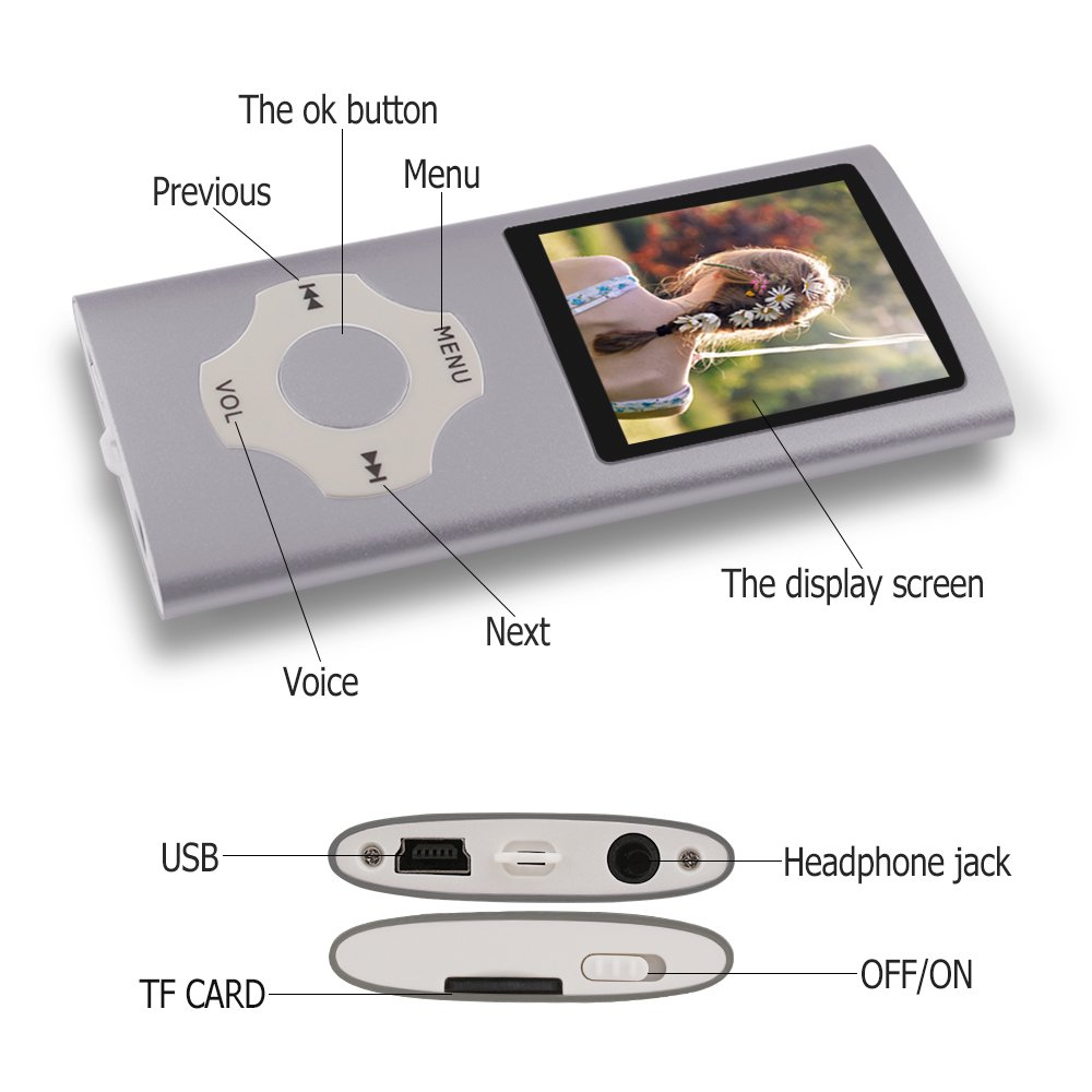 verde Ueleknight MP3// MP4 Player con Scheda Micro SD da 16 GB,Lettore Musicale Digitale Portatile//Video//di E-Book//Visualizzazione di Immagini Schermo da 1,8 Pollici Economico Musicale