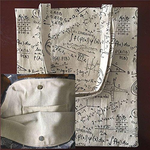 Yile cotone lino stampa formula matematica shopping Tote borsa a tracolla fodera magnetica Snap F01
