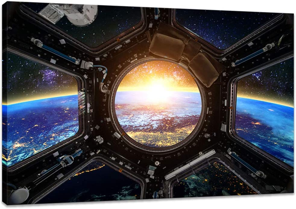 Innopics Outer Space Wall Art International Space Station Picture Print on Canvas Modern Home Decor Spacecraft Poster Painting Framed for Office Living Room Kids Bedroom Decoration