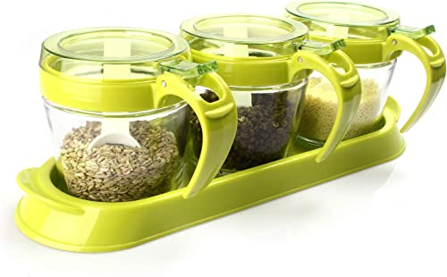 TUKSIK Spice Rack Seasoning Container – 3 Piece Glass Seasoning Box – Spoon Storage Jar Spice Container – Lid Spice Jar Set Green