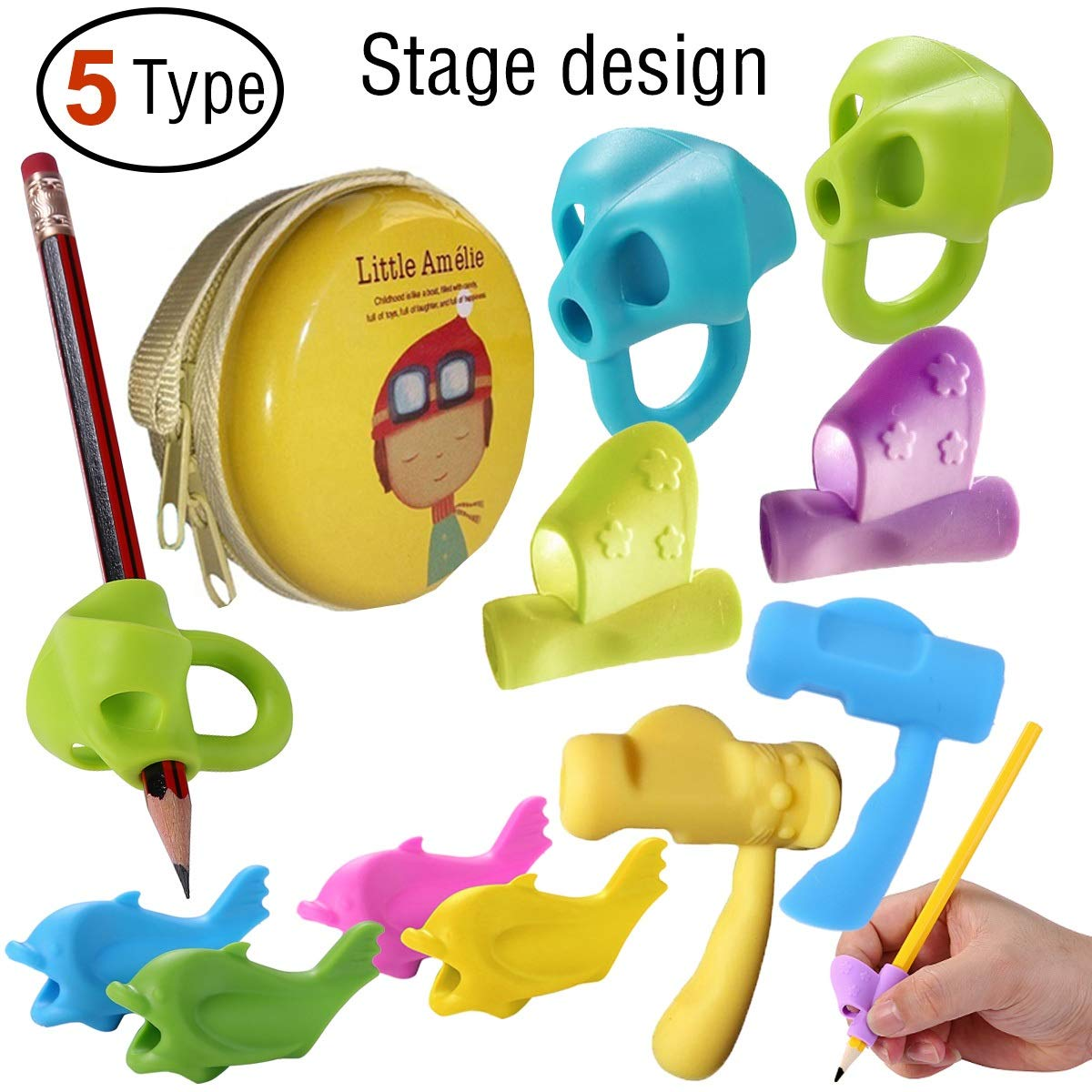 Pencil Grips,Tanbt Pencil Grips for Kids Handwriting Fish Dolphin Writing Training Grip Holder Pen Claw Aid Finger Grip for Kids Toddler Preschooler Kindergarten Handwriting Tracing Writing Correction