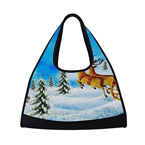 fc6ba2f0a3ee Image Unavailable. Image not available for. Color  HUVATT Gym Bag Happy  Christmas Day Women Yoga Canvas Duffel ...