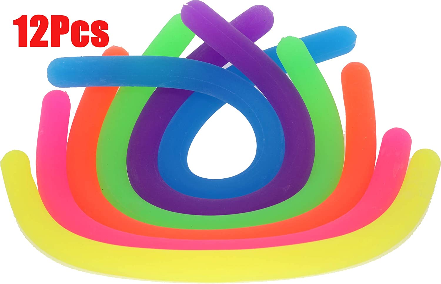 June mall 12 Pack Colorful Stretch Strings Sensory Fidget Stretch Toys Reduce Fidgeting Stress and Anxiety for ADD ADHD OCD and Autism 6 Colors BPA Phthalate Latex Free