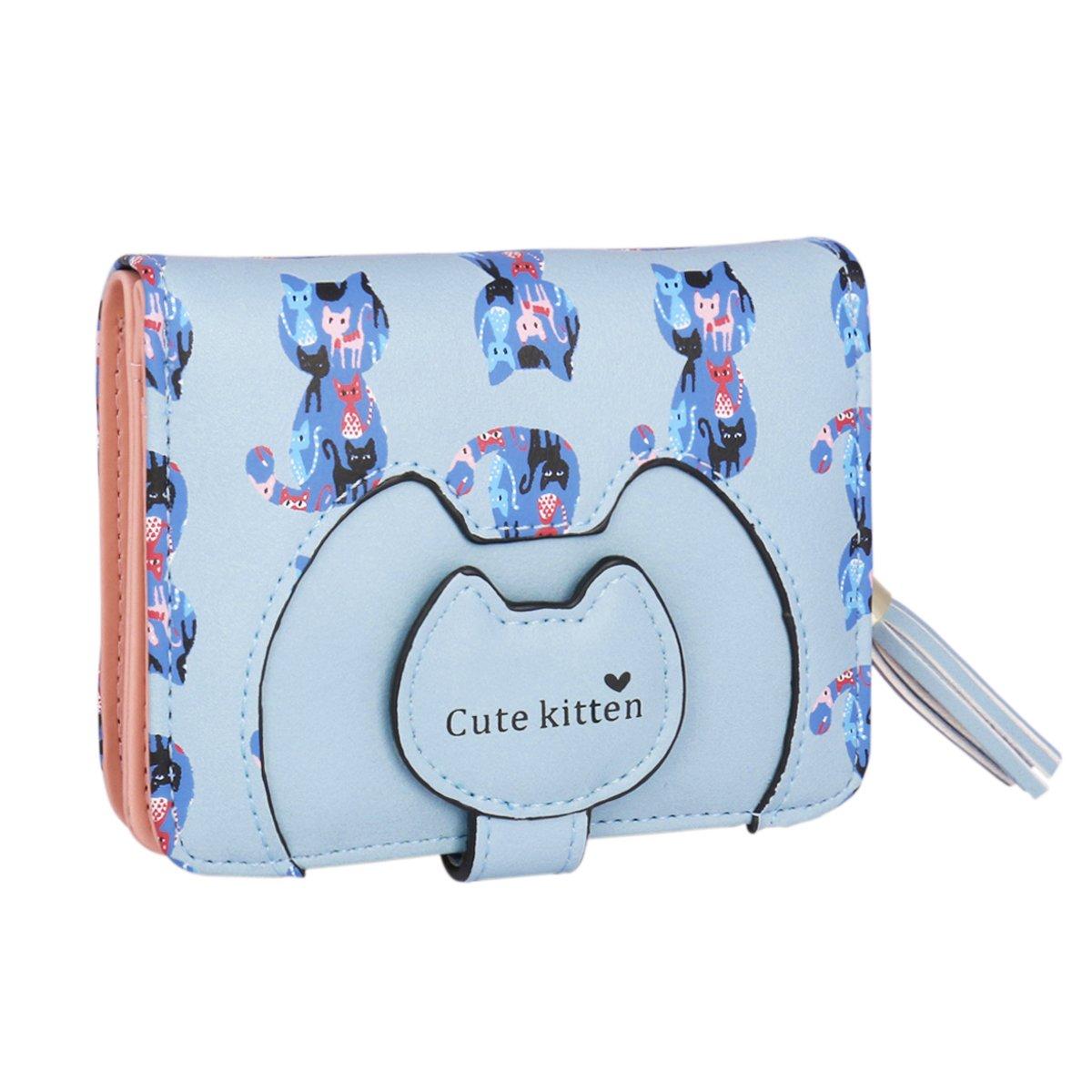 Adoptfade Womens Cute Cat Wallet Tassel Small Coin Purse,Blue