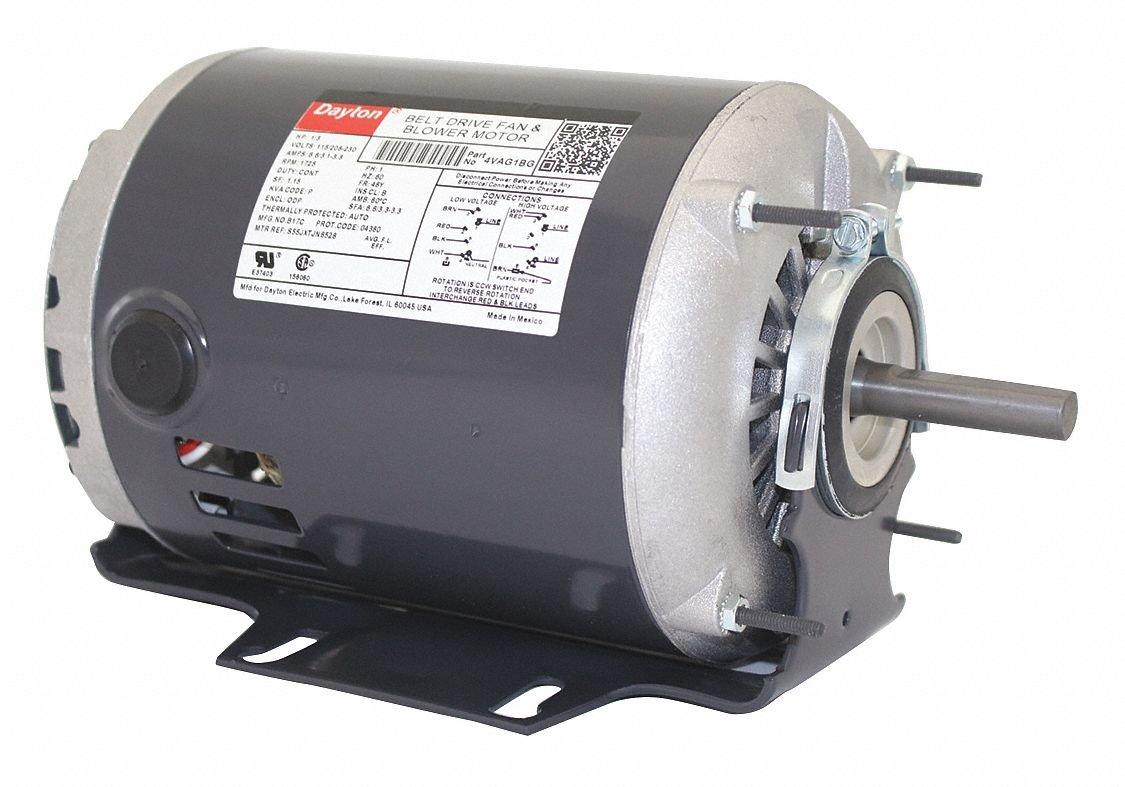 Dayton 1/3 HP Belt Drive Motor, Split-Phase, 1725 Nameplate RPM, 115/208-230 Voltage, Frame 48Y