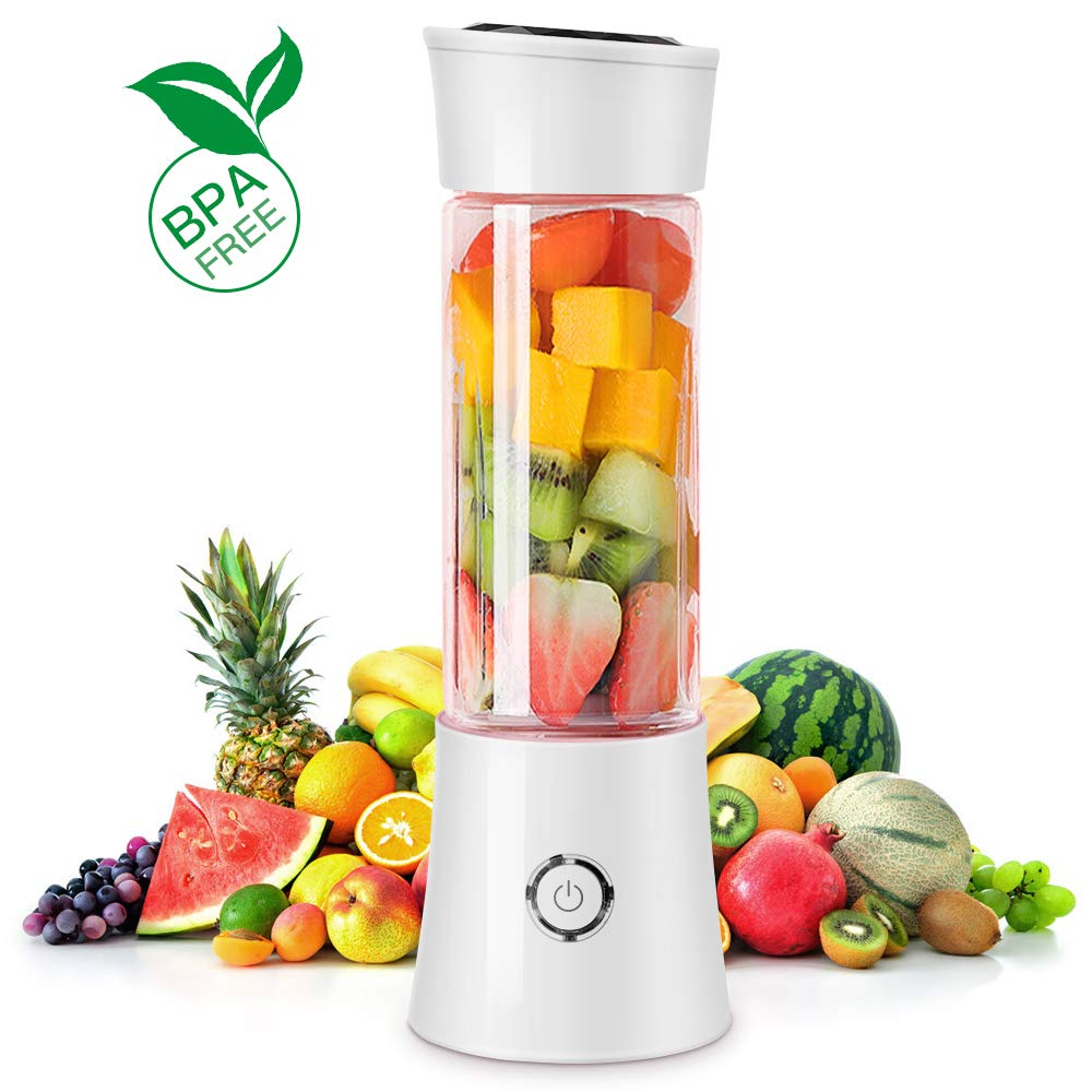 KAMSPARK Portable Blender USB Rechargeable Small Smoothie Blender 6 Blades for Ice Cubes Frozen Fruit Portein Shakes, Smoothie Maker with Strong Motor 22000 RPM Speed, 100 Watts, White