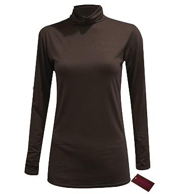 f910fe278cb WOMENS LADIES LONG SLEEVE TURTLE NECK TOP ROLL NECK POLO NECK PLAIN JUMPER  PLAIN TOPS PLUS SIZE 8-26  Amazon.co.uk  Clothing