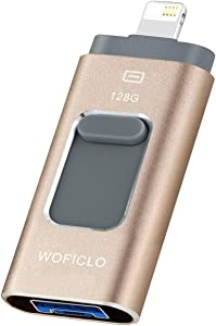 iOS Memory Stick for iPhone USB Flash Drives 128GB Photo Stick with Lightning/USB3.0/Micro-USB WOFICLO High Speed Thumb Drives for iPad iPhone Android Mac and PC (128GB, Gold)