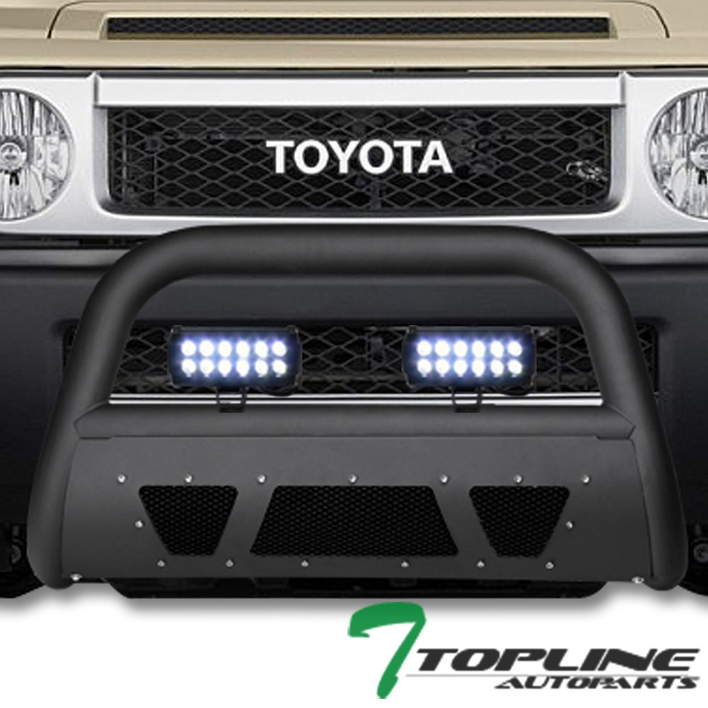 Topline Autopart Matte Black Studded Mesh Bull Bar Brush Push Front Bumper Grill Grille Guard With Skid Plate 36W CREE LED Fog Lights For 07-14 Toyota FJ Cruiser
