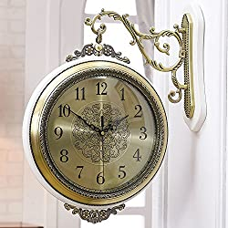 Imoerjia Creative Wall Clock Creative Metal Wall Clock Wall Clock with A Two-Sided Pan-European-Style Living Room Silent, Bronze + White Wood