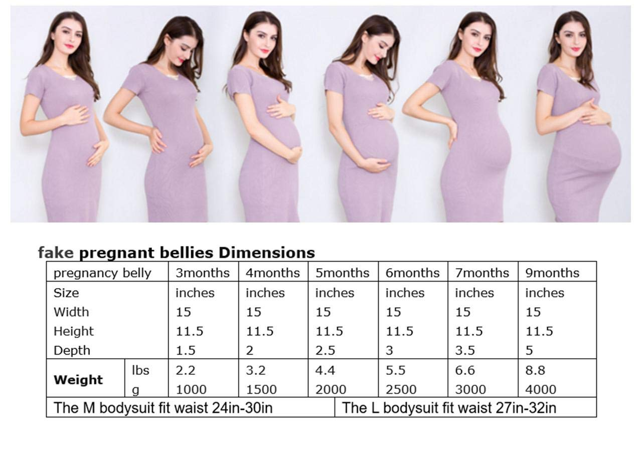 JUSTTOYOU Fake Pregnant Belly for 6 Months Fake Belly Costume with M  Bodysuit, 5 5 lbs
