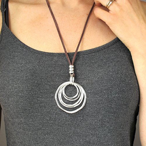 Circle Pendant (Women's Necklace-Boho Necklace-Gift for Her-Fashion Necklace-Brown Leather Cord Necklace with Concentric Circles Pendant-25 Inches-Long Necklace-Bohemian Necklace)