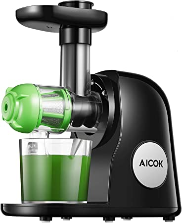 Slow Juicer Masticating Juicer Machine, Aicok Juicers Whole Fruit and Vegetable with Dual Stage Quiet Motor & Reverse Function, Cold Press Juicer