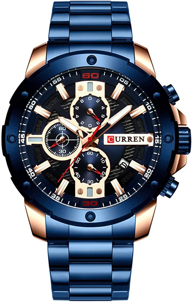 Relojes Hombres Acero Inoxidable Banda Cuarzo Reloj Militar Cronógrafo Reloj Masculino Moda Deportiva Reloj Impermeable