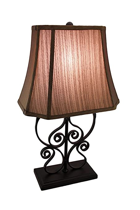 Metal Table Lamps Metal Scrollwork Table Lamp Matte Black Finish Decorative  Fabric Shade 14 X 24