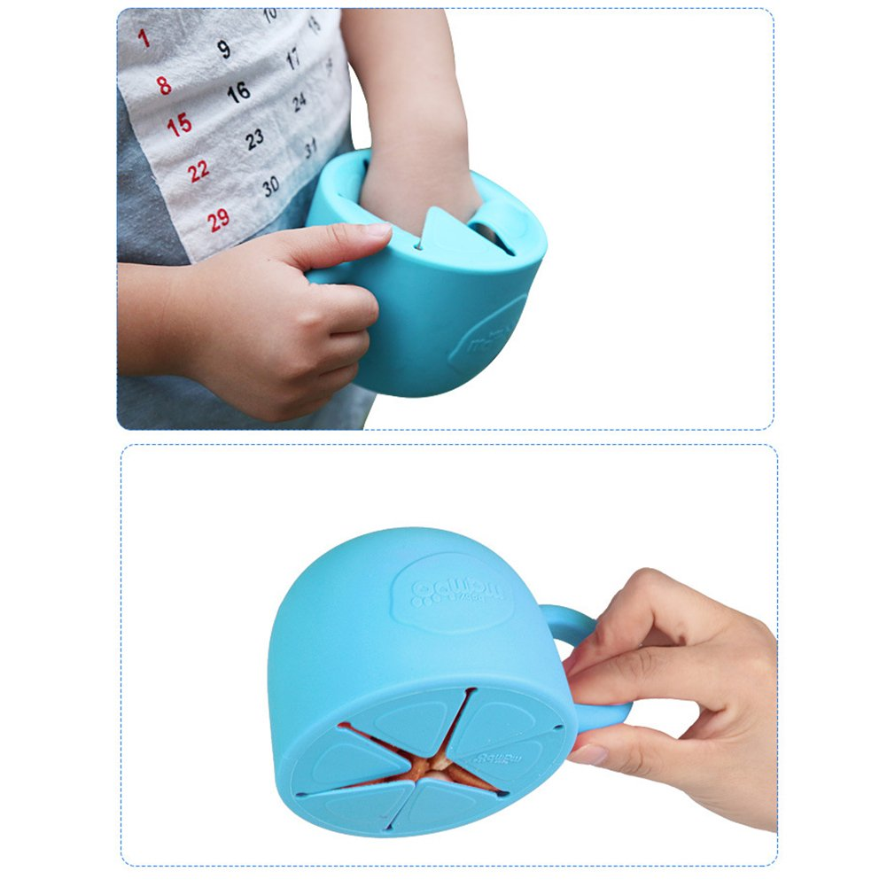 Amazon.com : Silica Gel Cute Creative Lemon Slice Shape Toddler Tableware Childrens Snack Cup Anti-Skip Handle Prevents Splashing Baby Cup (green) : Baby