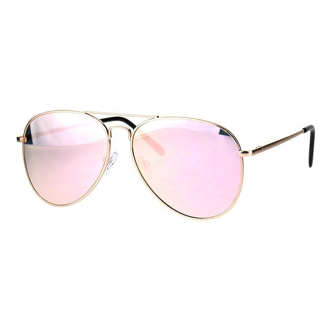 Amazon.com: Gafas de sol con espejo color rosa, marco de ...