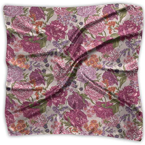 Bandana Head and Neck Tie Neckerchief,Peonies BlackBerry And Wild Flowers In Vintage Style Colorful Nature -