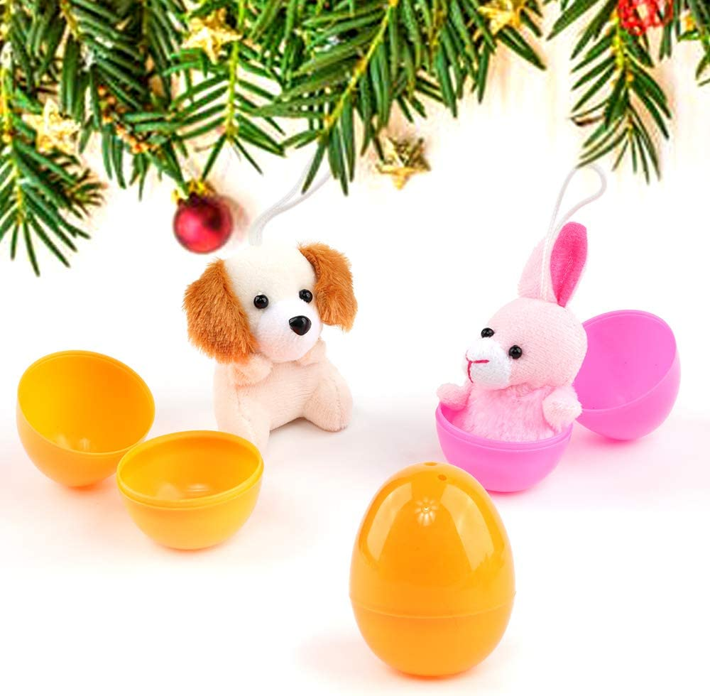 FUNNISM 12 Pieces Filled Easter Eggs of Mini Stuffed Animal Plush Toys Easter Basket Stuffer for Easter Egg Hunt Kids Party Favors