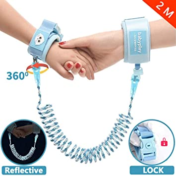 Anti Lost Wrist Link Reflective Child Walking Harness Rope Leashes for Kids//Babies Toddler Safety Leash with Key Lock