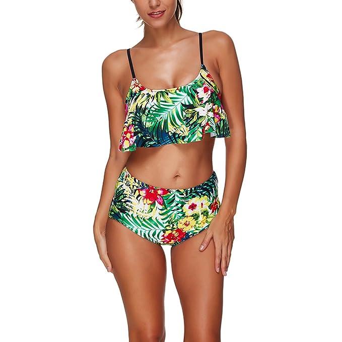 d3bcf8d55051d Women Swimwear Floral Print Ruffled Sling Backless High Waist Bikinis Sets  Triangle Bathing Suit (S