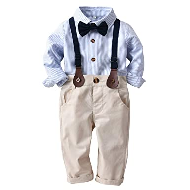 800e88938d86 Amazon.com: Kids Outdoor Tops, Little Boy Gentleman Fall Sets, Toddler Baby  Boys Striped Gentleman Bowtie Shirt+Overall Pants Outfits: Clothing