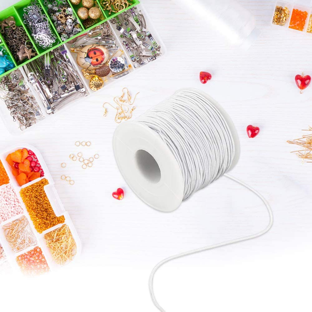 Bricolage Artisanat Bracelets Colliers Fil Rouleau de Cordon Elastique pour Bracelets etc LYTIVAGEN 1mm 100m Cordon /élastique blanc Cordon dArtisanat