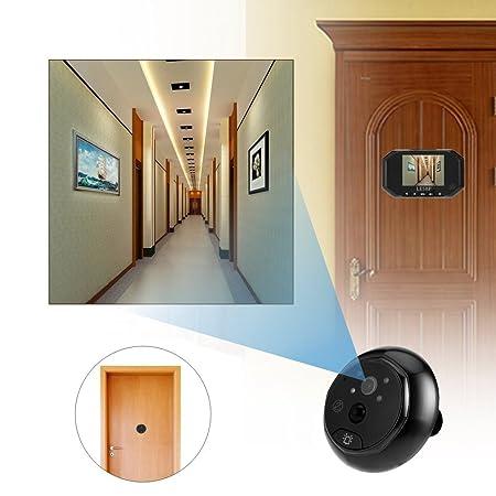 LESHP Timbre Intercomunicador de Video Portero, Mirilla Digital 3.5 Pulgadas Sensor de movimiento PIR, IR Visión nocturna, Detección de movimiento 160 ...