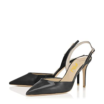 2951566476 FSJ Women Pointed Toe Pumps Slingback Stilettos Heels Sandals Ankle Strap  Shoes Size 4 Black