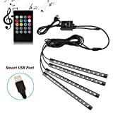 Amazon Price History for:Car LED Strip Lights - SurLight 4pcs 48 LED Multicolor Music Car Interior Atmosphere Lights, USB LED Strip for Car TV Home with Sound Active Function, Wireless Remote Control and Smart USB Port