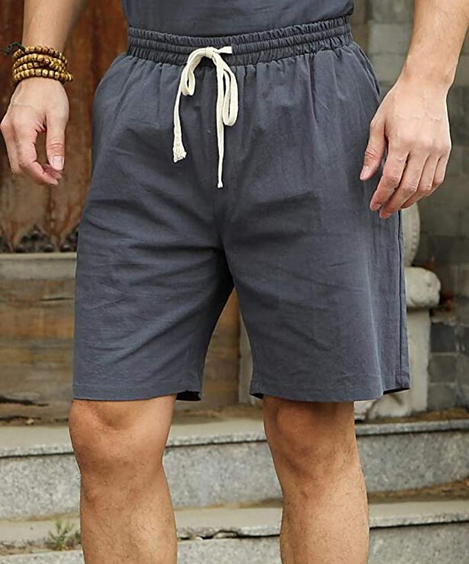 Hotmiss Mens Summer Plus Size Lounge Baggy Patchwork Cotton Linen Shorts Capri Beach Pants