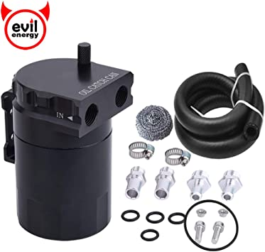 Oil Catch Can Reservoir Tank Black Polish Baffled Universal Aluminum