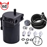 "EVIL ENERGY Baffled Universal Oil Catch Can Reservoir Tank Kit with 3/8"" NBR Fuel Line Aluminum Black 400ml"