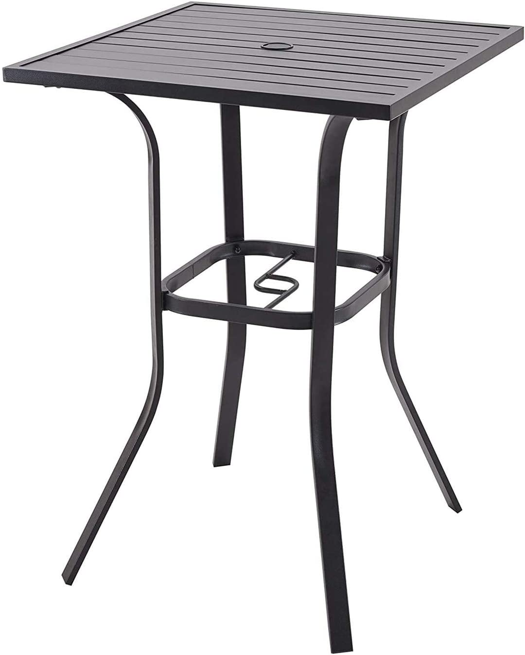 Vicllax Patio Bar Height Bistro Table Outdoor Umbrella Bar Table: Kitchen & Dining