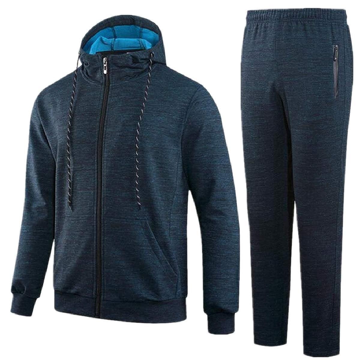 FLCH+YIGE Mens Drawstring Hoodie Casual Elastic Waist Pants Sweatshirt Tracksuit Set 3 XS