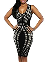 Ninimour Womens Sleeveless Stripe Print Slim Fit Package Hip Bodycon Dress