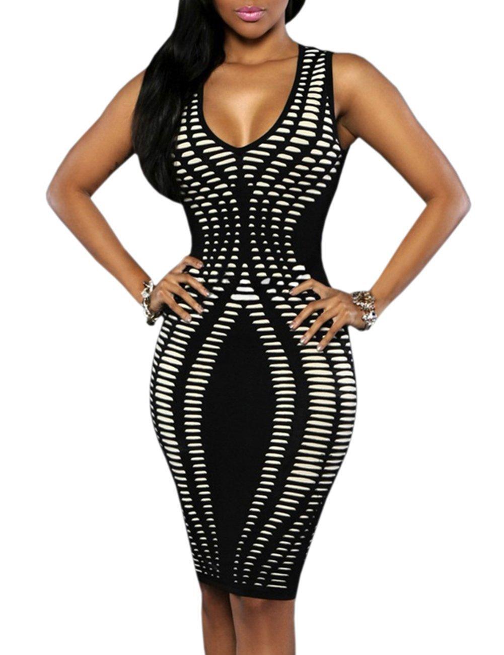 Ninimour Womens Sleeveless Stripe Print Slim Fit Package Hip Bodycon Dress , Black , X-Large