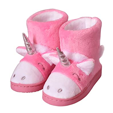 2f576921c3a8 Kids Winter Warm Cute Cartoon Unicorn Fluffy House Slippers Boots Size  Toddler 6 US Pink Unicorn