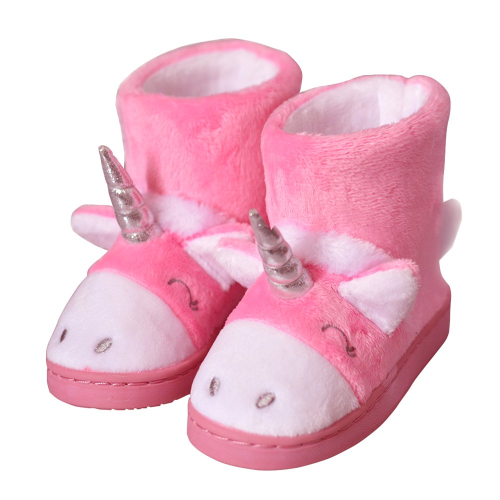 Girl's Cozy Warm Plush Cute Unicorn Winter Indoor Outdoor Slippers Size Toddler 8 US Pink Unicorn