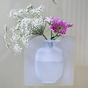 SuzSan Silicone Flower Vase Samll Removable Portable Self-Adhesive Wall Mount Vase Sticker for Wedding Festival Party Home Office Decoration
