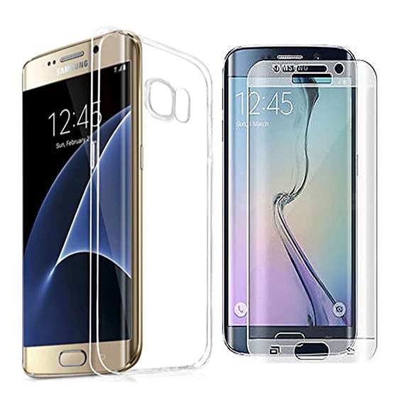 buy online e8cae 7cb6d Galaxy S6 edge Plus Screen Protector Tempered Glass, iKNOWTECH Front + Back  Full Body Curved Cover Film Skin Screen Protector Tempered Glass for ...
